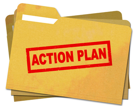 accomplish: Action plan rubber stamp stamped on old, stained folder Isolated on white background