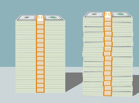 greenbacks: Bundled dollar cash money stacks illustration in two different stacking orders