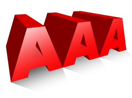 triple: An illustration of triple A or AAA in 3-d Isolated on white background