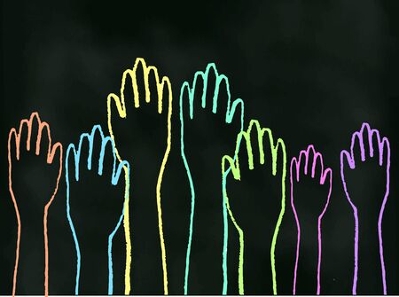 volunteering: An illustration of chalk hand-drawn hands rising up on a blackboard