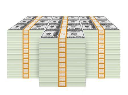 One Million Dollars Cash Bundle (isolated on white background)