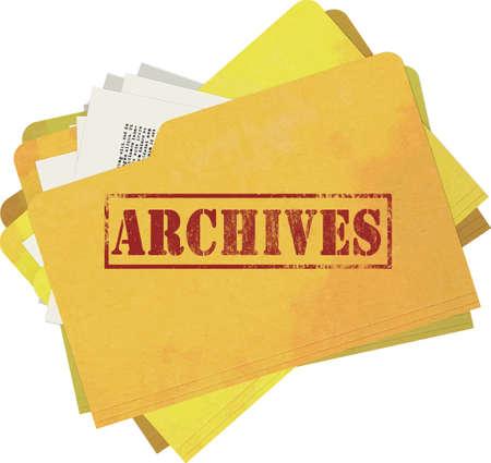 Oud en bevlekt Archives map geïsoleerd op een witte achtergrond