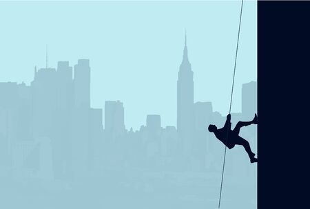 scaling: An illustration of a businessman scaling the side of a skyscraper with a rope