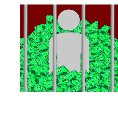 conscience: Prisoner of Conscience Conceptual Illustration. Image shows a guilt-stricken prisoner waist-deep with the money he stole