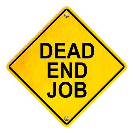 resign: Dead end job road sign isolated on white background Stock Photo