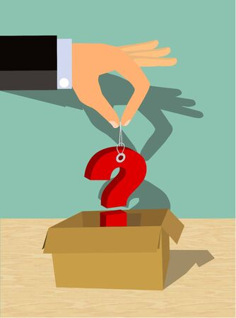 Hand pulling or putting a question mark sign into a box. A gift or Item with no known use or purpose