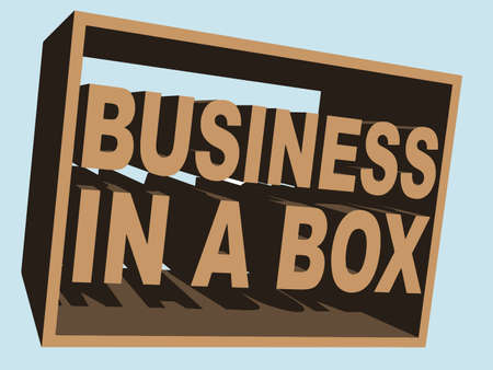 franchising: An illustration of business-in-a-box Vector Stock Photo