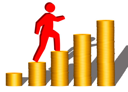 succeeding: Man climbing up stacks of gold coins (isolated on white background)