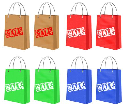 d offer: Set of Different Colored Shopping Paper Bags With Sale Signs