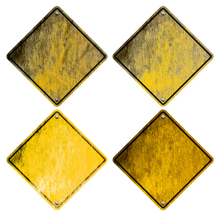 rough diamond: Blank, weathered and Stained Road Signs (isolated on white)