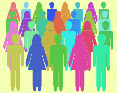 gender equality: Crowd of men and women. Crowd sourcing -  People Power - Gender equality