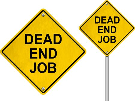 resign: Dead end job road signs isolated on white background Stock Photo