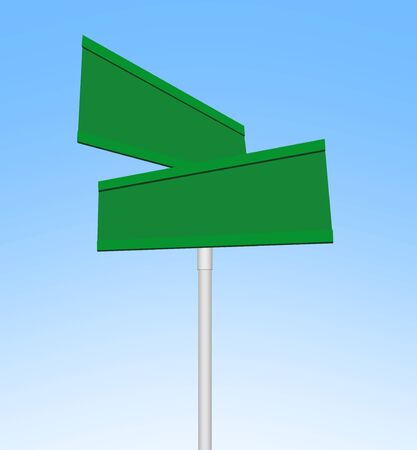 two: Two Panel Blank Green Road Signs