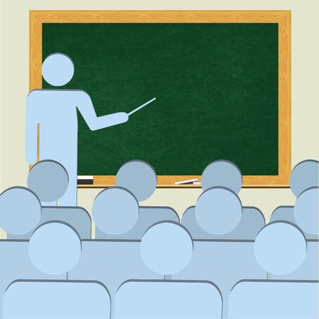 behind: Teacher Behind Blank Blackboard Teaching Students (Copy Space) Stock Photo