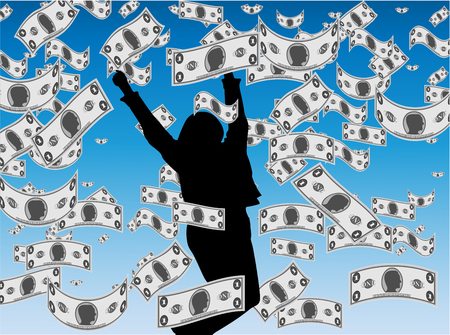 catching: An illustration of Money Rain Showing a Girl Catching Money Falling From The Sky