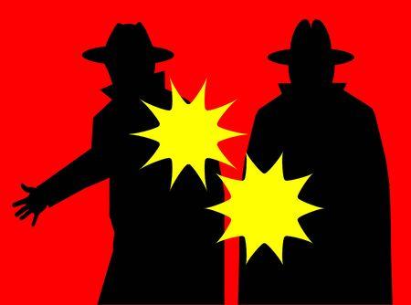 Mobsters firing guns Vector