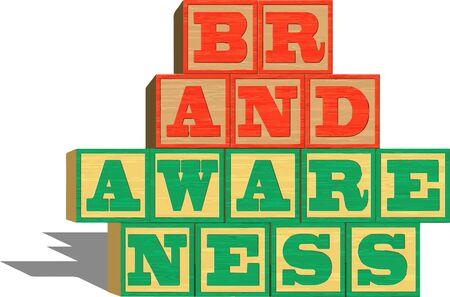 alphabet blocks: Brand Awareness On Alphabet Blocks (Isolated on white background)