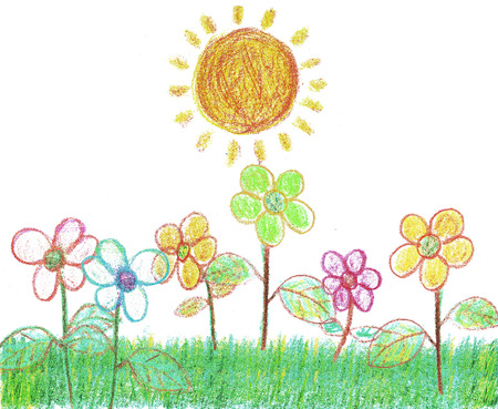 pastel like: A child like crayon illustration of flowers in the garden bathing in sunshine