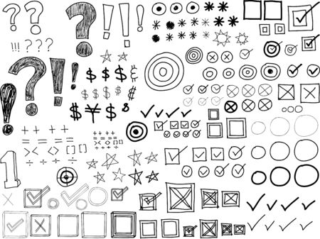 asterisks: Hand-drawn Doodles -Asterisks, Bullets, Check marks, Punctuation marks (Vector)