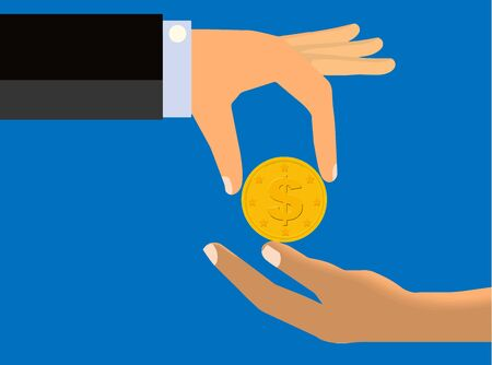 limp: Hand of a Rich Man Handing Coin To The Limp Hand of Another Person Stock Photo