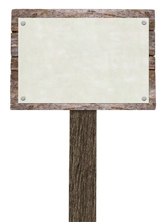 eco notice: Blank Wooden Signboard ( Isolated on White Background)) Stock Photo