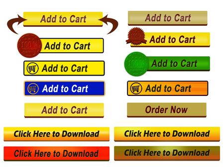 ready to cut: A set of ready to use Add to Cart buttons in different styles Stock Photo