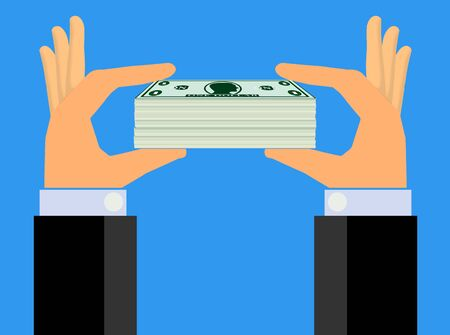 extra cash: Hands Holding Up A Stack of Cash to Show (Vector)