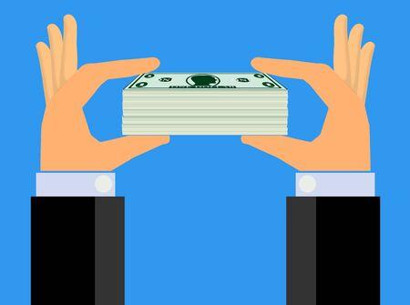show bill: Manos que soporta una pila de efectivo a Show (Vector) Foto de archivo