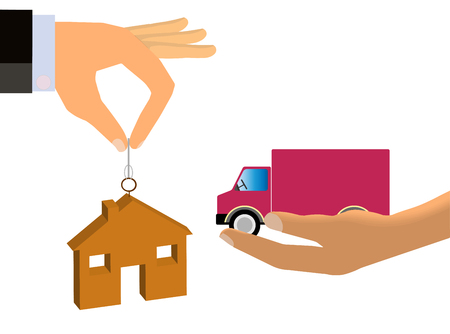 capitalism: A conceptual illustration of Barter. Illustration shows two hands from the opposite direction exchanging goods, specifically, a house for a truck.