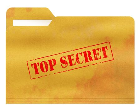 manila envelop: Old and Stained File Folder with Top Secret  Stamped on the Cover Isolated on White Background