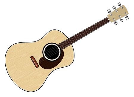 An illustration of  a Classical Acoustic Guitar.  Image isolated on white background.