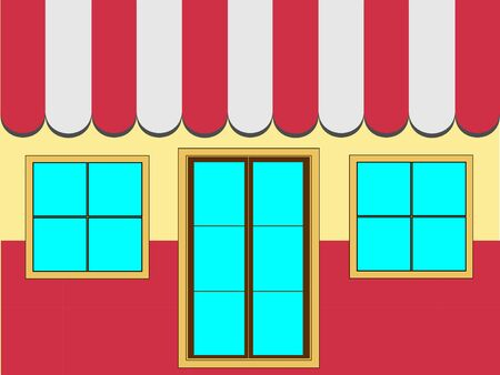 shop window: Shop Facade Showing Shop Door, Window and Canopy (Vector) Stock Photo