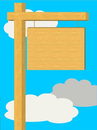 wooden signboard: An illustration of a blank wooden signboard with sky and clouds in the background