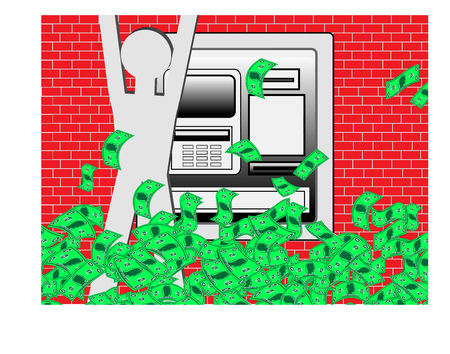 bonanza: Jubilant man celebrating as an atm machine releases large amounts of cash Stock Photo