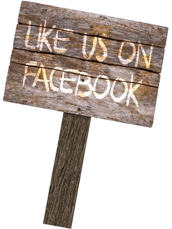 Like Us On Facebook Wood Sign (Isolated on white background)