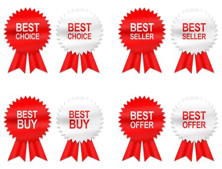 best quality: 8 best buy, choice, offer and seller labels with ribbon