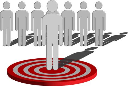 A conceptual illustration of Target Marketing showing a man among several people in the middle of a target Stock Photo