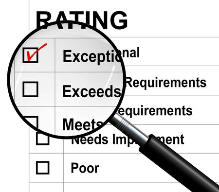eligibility: Exceptional rating report evaluation under a magnifying glass,