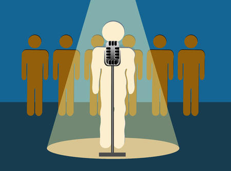 timidity: Stage Fright -Nervous Speaker Shaking Nervously In Front of An Audience