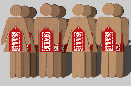 import trade: human figures cut from corrugated boards with Sale Hang Tags over their necks. Human trafficking