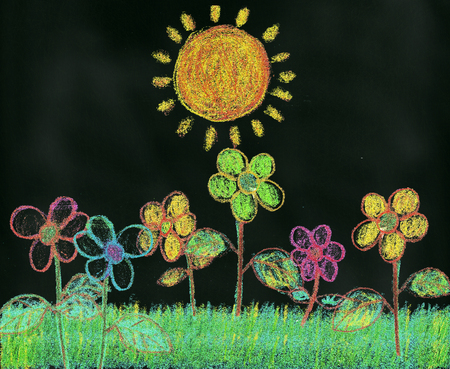 pastel like: A child like chalk drawing on blackboard illustration of flowers in the garden bathing in sunshine Stock Photo