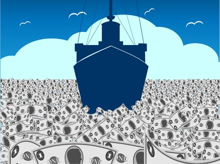 wade: An illustration of A Ship Cruising in a Sea of Cash Vector Stock Photo