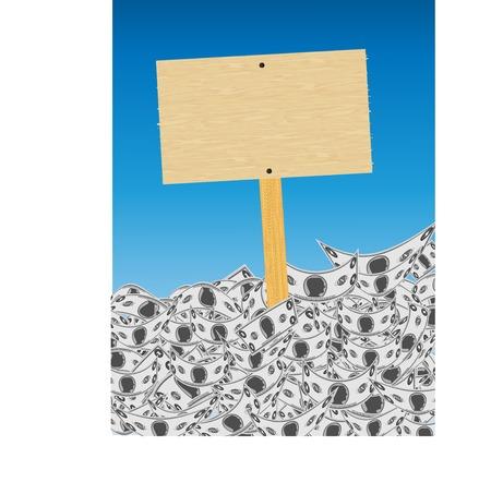 現金マウンド (ベクトル) から突き出て空白の木製看板 写真素材 - 53635827