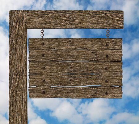 Blank Old Wood Hanging Signboard Stock Photo