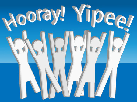 hurray: Hooray! Yippee! Vector