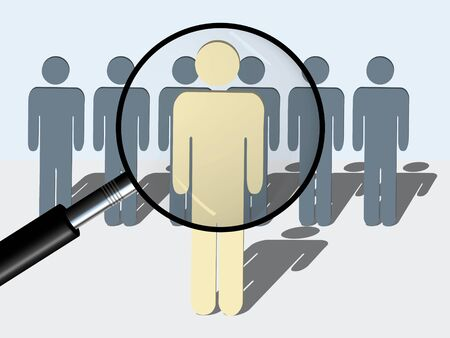 to the right: A conceptual illustration of the searching for right man or person for a particular job or task. Illustration shows a magnifying glass right in front of the person in the foreground. (Isolated on white)
