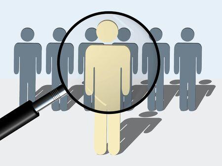 Een conceptuele illustratie van het zoeken naar juiste man of persoon voor een bepaalde functie of taak. Afbeelding toont een vergrootglas recht tegenover de persoon op de voorgrond. (Geïsoleerd op wit)