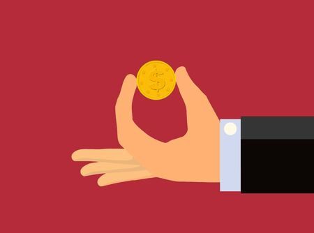 goldmine: Hand holding between two fingers a gold coin Stock Photo