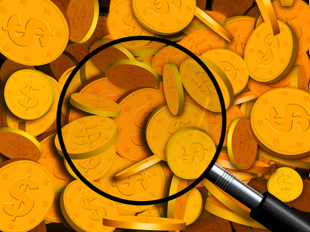 An illustration of a wall of gold coins with a magnifying glass over it