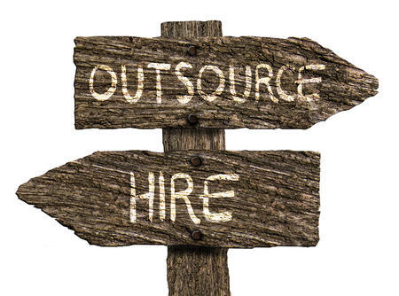 outsource: Outsource or Hire Old Wood Directional Signs (Isolated on white background) Stock Photo